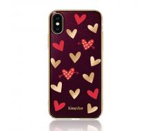 Луксозен гръб за Iphone X, Kingxbar Swarovski Hearts