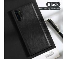 Оригинален кейс за Samsung Galaxy Note 10 Plus, X-Level Leather Case черен
