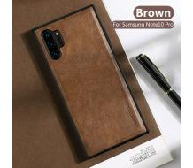 Оригинален кейс за Samsung Galaxy Note 10 Plus, X-Level Leather Case кафяв