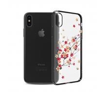 Луксозен гръб за Iphone X, Kingxbar Swarovski Cherry Blossoms